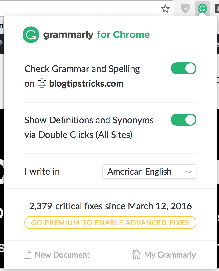 Grammarly Free addon - BlogTipsTricks