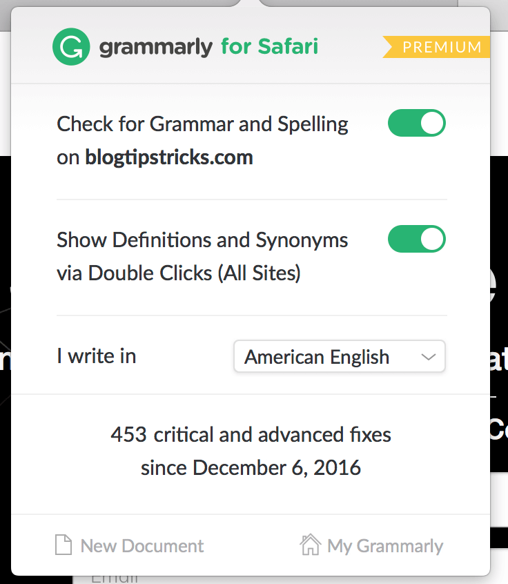 Grammarly Premium extension - BlogTipsTricks