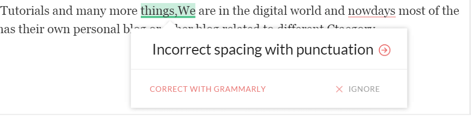 Grammarly punctuation mistake - BlogTipsTricks