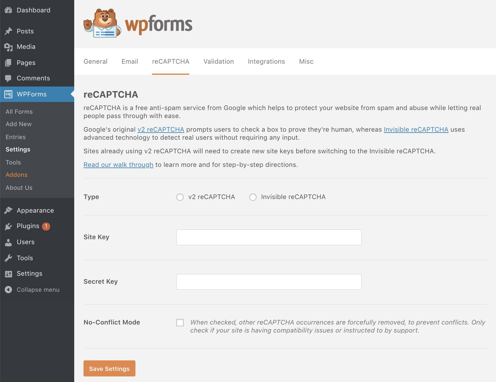 WPForms Settings - BlogTipsTricks