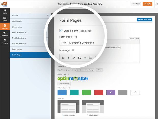 form pages settings - BlogTipsTricks